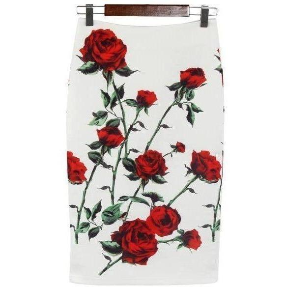 BEFORW Vintage High Waist Skirts Women Summer Office Pencil Skirt Fashion Casual White Rose Flower Print Knee Skirt XXL Saia-Skirt-Sour Grapes Online-Rose-L-