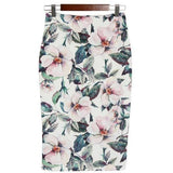 BEFORW Vintage High Waist Skirts Women Summer Office Pencil Skirt Fashion Casual White Rose Flower Print Knee Skirt XXL Saia-Skirt-Sour Grapes Online-Flowers-L-