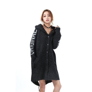 Women Hooded Cardigan Coat Thick Poncho Over Sized Black Jumper-Coat-Sour Grapes Online-Black-