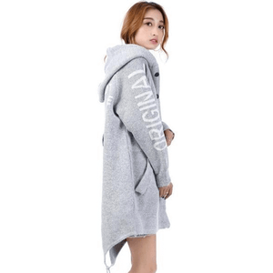 Women Hooded Cardigan Coat Thick Poncho Over Sized Grey Jumper-Coat-Sour Grapes Online-Grey-