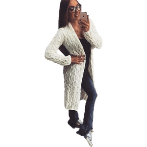 Women Knitted Sweater Coat Winter Long Sleeve White Cardigan-Coat-Sour Grapes Online-White-