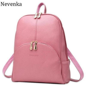 Women Leather Casual Softback Preppy Style Backpack-Backpack-Sour Grapes Online-Pink-