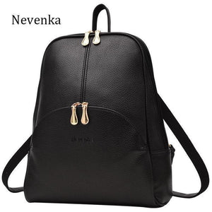 Women Leather Casual Softback Preppy Style Backpack-Backpack-Sour Grapes Online-Black-