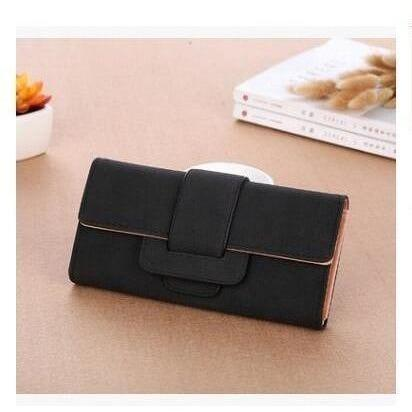 Women Leather Wallets Female Card Holders Coin Purse-Wallet-Sour Grapes Online-Black-