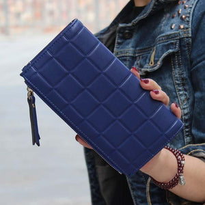 Women Leather Wallets Female Clutch Double Zipper Purses-Wallet-Sour Grapes Online-Blue-