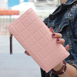 Women Leather Wallets Female Clutch Double Zipper Purses-Wallet-Sour Grapes Online-Pink-