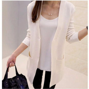 Women Long Cardigan Slim Pocket Loose Knit Sweater-Cardigan-Sour Grapes Online-Beige-S-