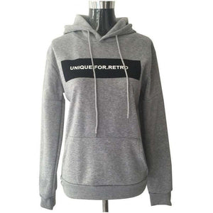 Women Long Sleeve Double Edged Hoodie Sweatshirt Loose Pullover-Hoodies-Sour Grapes Online-Grey-M-
