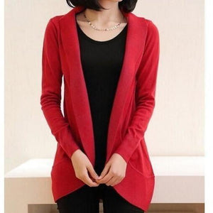 Women Long Sleeve Knitted Sweater Casual Solid Scarf Collar Cardigan-Cardigan-Sour Grapes Online-Red-S-