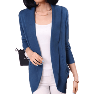 Women Long Sleeve Knitted Sweater Casual Solid Scarf Collar Cardigan-Cardigan-Sour Grapes Online-Blue-S-