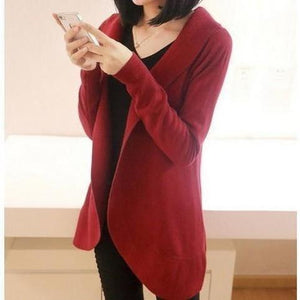 Women Long Sleeve Knitted Sweater Casual Solid Scarf Collar Cardigan-Cardigan-Sour Grapes Online-wine red-S-