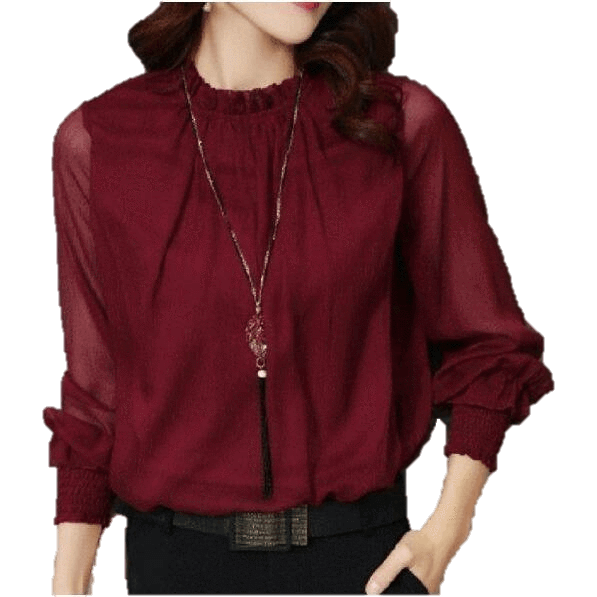Women Long Sleeve Mesh Chiffon Blouse-Top-Sour Grapes Online-Red-M-