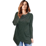 Women Long Sleeve O Neck Blouse Fashion Ladies Solid Asymmetrical Plus Size Top-Top-Sour Grapes Online-Army Green-S-