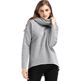 Women Long Sleeve Rough Pullover With Scarf Collar-Pullover-Sour Grapes Online-Grey-S-