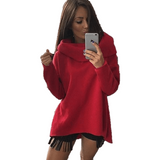 Women Long Sleeve Rough Pullover With Scarf Collar-Pullover-Sour Grapes Online-Red-S-