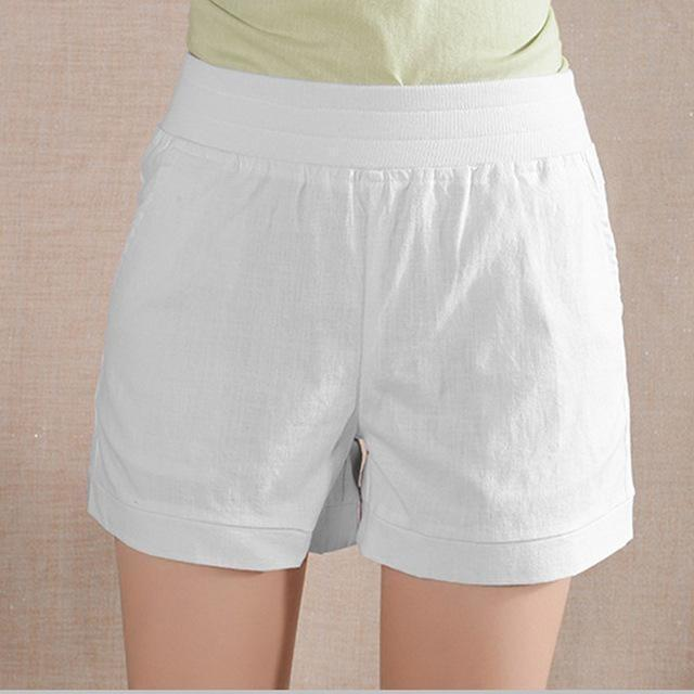 Women Loose High Waist Plus Size White Summer Short-Shorts-Sour Grapes Online-White-S-