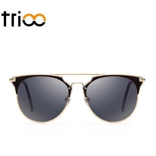 TRIOO Mirror Rose Gold Sunglasses Women Round Luxury Brand Female Sun Glasses For Women 2017 Fashion Oculos Star Style Shades-Shades-Sour Grapes Online-002-