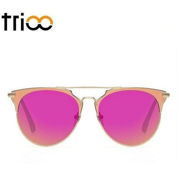 TRIOO Mirror Rose Gold Sunglasses Women Round Luxury Brand Female Sun Glasses For Women 2017 Fashion Oculos Star Style Shades-Shades-Sour Grapes Online-003-