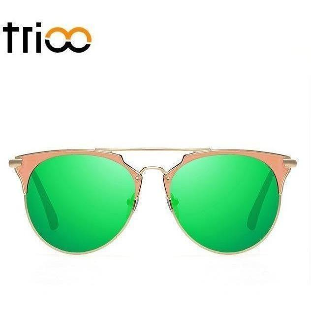 TRIOO Mirror Rose Gold Sunglasses Women Round Luxury Brand Female Sun Glasses For Women 2017 Fashion Oculos Star Style Shades-Shades-Sour Grapes Online-004-