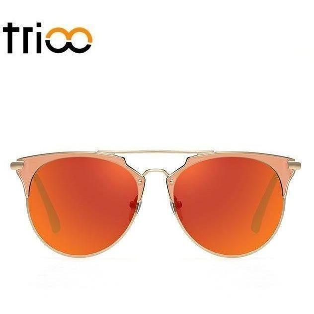 TRIOO Mirror Rose Gold Sunglasses Women Round Luxury Brand Female Sun Glasses For Women 2017 Fashion Oculos Star Style Shades-Shades-Sour Grapes Online-005-