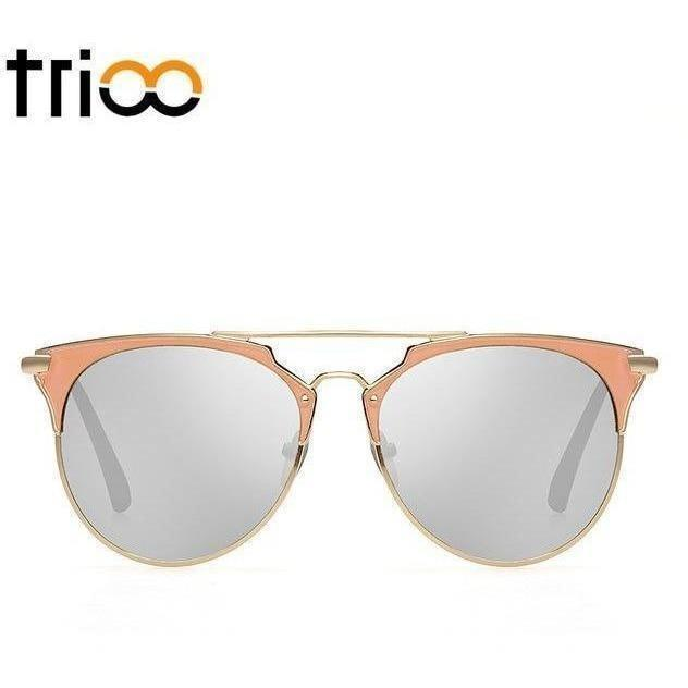 TRIOO Mirror Rose Gold Sunglasses Women Round Luxury Brand Female Sun Glasses For Women 2017 Fashion Oculos Star Style Shades-Shades-Sour Grapes Online-007-
