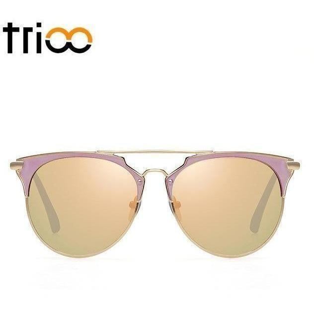 TRIOO Mirror Rose Gold Sunglasses Women Round Luxury Brand Female Sun Glasses For Women 2017 Fashion Oculos Star Style Shades-Shades-Sour Grapes Online-008-