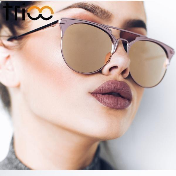 TRIOO Mirror Rose Gold Sunglasses Women Round Luxury Brand Female Sun Glasses For Women 2017 Fashion Oculos Star Style Shades-Shades-Sour Grapes Online-001-