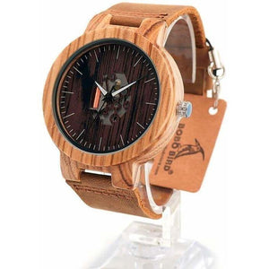 Women Natural Brown Leather Strap Quartz Wooden Watch-Watch-Sour Grapes Online-Black-