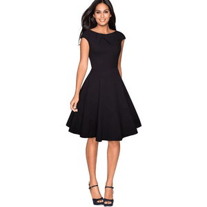 Women O-Neck Cap Sleeve A-Line Swing Black Dress-Dress-Sour Grapes Online-Black-S-