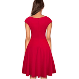 Women O-Neck Cap Sleeve A-Line Swing Red Dress-Dress-Sour Grapes Online-Red-S-