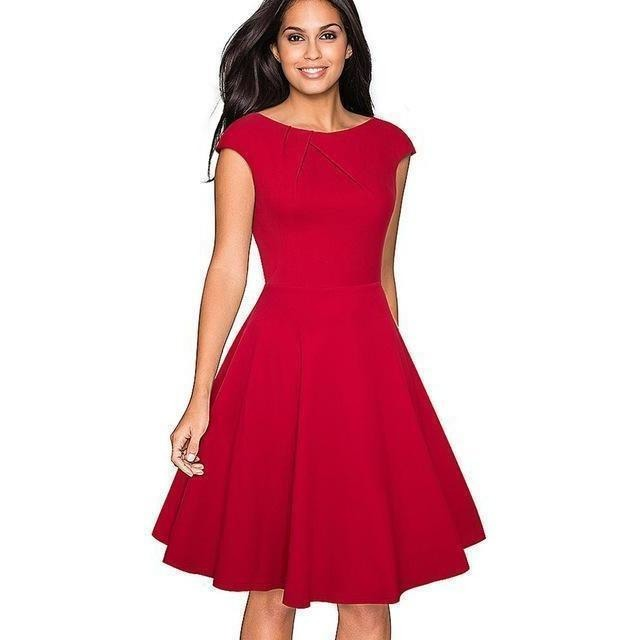 ca23ec9085 50s Style O-Neck Cap Sleeve A-Line Swing Red Cocktail Prom Dress ...