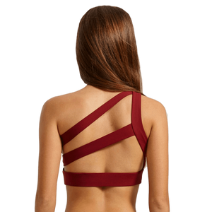 Women Off-shoulder Anti-sweat Padded Yoga Sports Bra-Sour Grapes Online-Red-XS-
