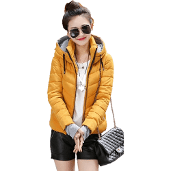 ca93ba954f5 Women Plus Size Winter Jacket Outerwear Cotton Hooded Dark Yellow Parka- Jackets-Sour Grapes