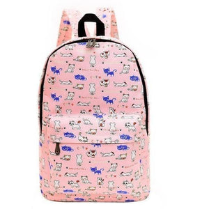 Women Printed Fashion Canvas Retro Casual Travel Backpack-Backpack-Sour Grapes Online-Pink Cat-