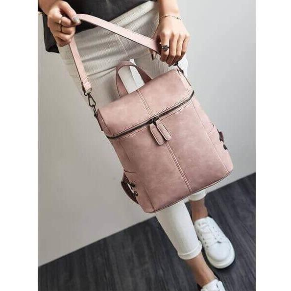 Women PU Leather Vintage Stylish Shoulder Bag Backpack-Backpack-Sour Grapes Online-Pink-