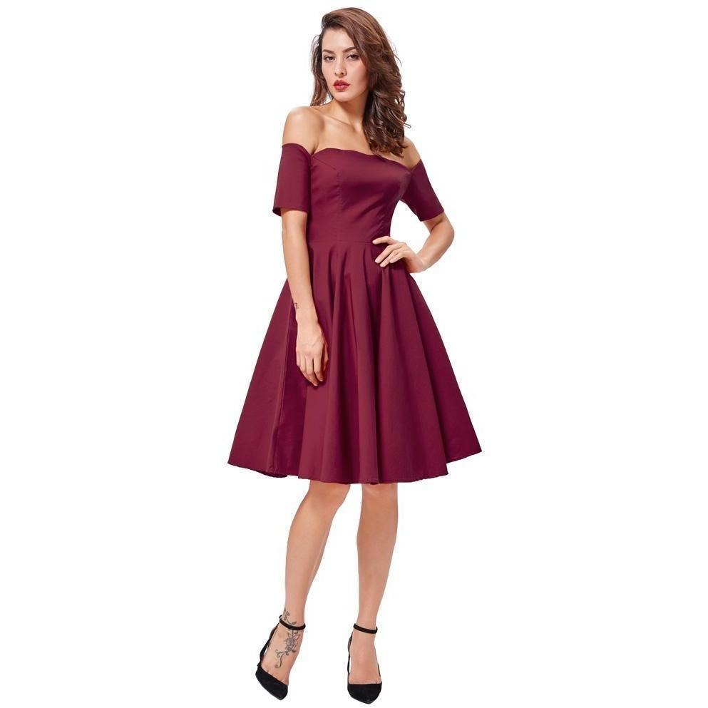 b62d3107de97 Women Retro Rockabilly Vintage Off Shoulder Swing Party Wine Red Dress-Dress-Sour  Grapes