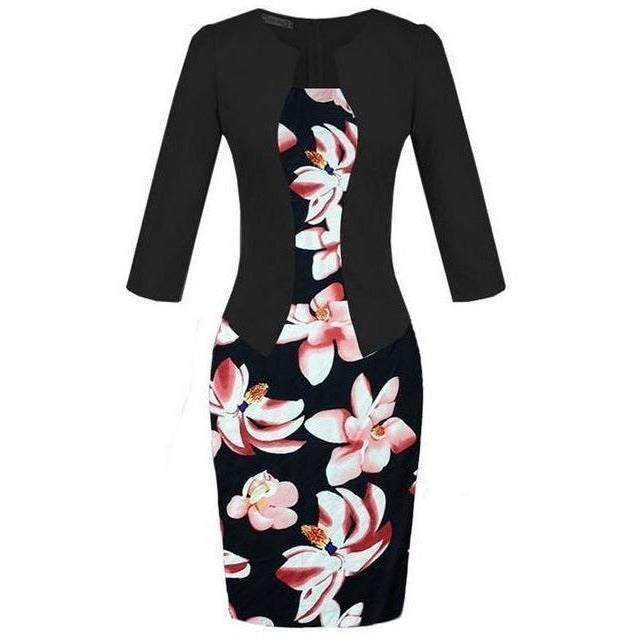Women Sheath Bodycon Tunic Floral One Piece Dress-Dress-Sour Grapes Online-Red Floral-S-
