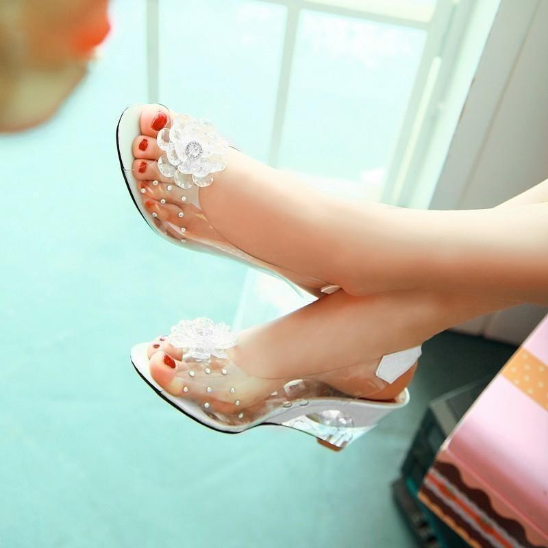 Women Shoes Transparent Flowers Wedges Beige Sandals-Sandals-Sour Grapes Online-Beige-3.5-