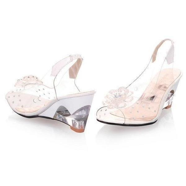 Women Shoes Transparent Flowers Wedges Beige Sandals-Sandals-Sour Grapes Online-Beige-4-