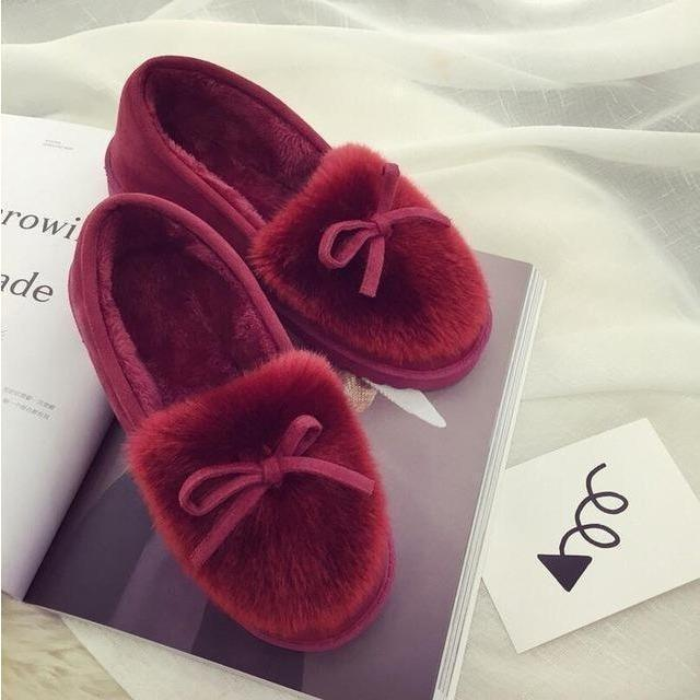 New 2016 women snow boots thick plush winter warm shoes fashion slip on flat waterproof women ankle boots cotton-padded shoes-Shoes-Sour Grapes Online-Red-5-