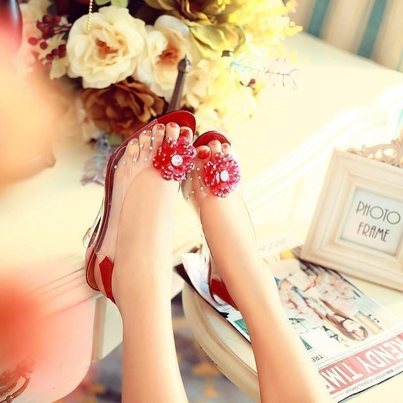 Women Soft Leather Shoes Transparent Flowers Wedges Red Sandals-Sandals-Sour Grapes Online-Red-3.5-