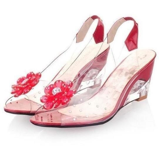 Women Soft Leather Shoes Transparent Flowers Wedges Red Sandals-Sandals-Sour Grapes Online-Red-4-