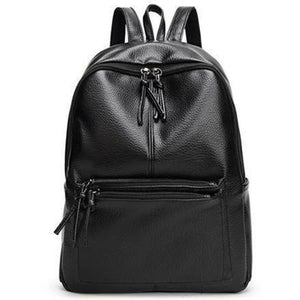 Women Soft PU Leather Leisure Travel Backpack-Backpack-Sour Grapes Online-Black-