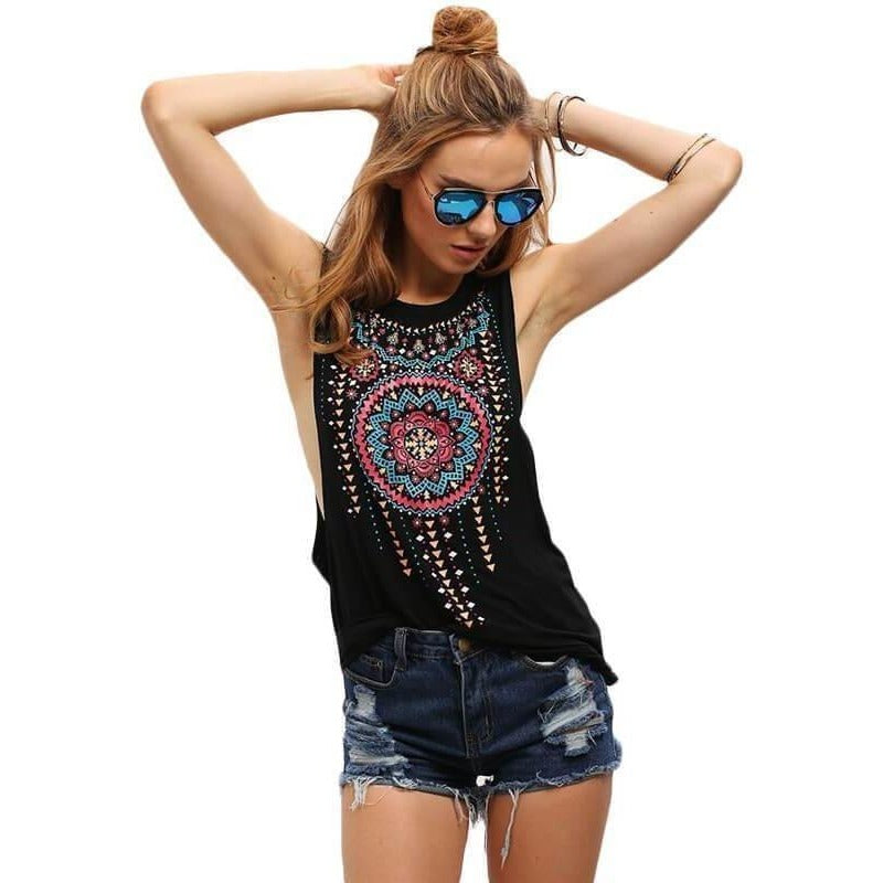 Women Summer Style Round Neck Sleeveless Vintage Tribal Print Black Sexy Casual Tank Top-Top-Sour Grapes Online-Black-XS-