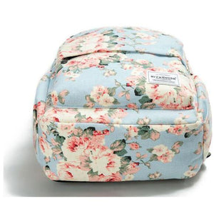 Women Travel Backpack Floral Print Canvas Book Bags for Girls-Backpack-Sour Grapes Online-Blue Flowers-