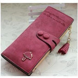 Women Trendy ID Card Holders Cute Leather Wallets-Wallet-Sour Grapes Online-Wine Red-