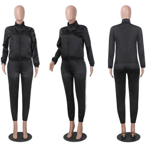 Women Two-Piece Satin Tracksuit Casual Fitness Wear-Tracksuit-Sour Grapes Online-Black-S-