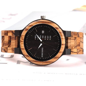 Women Two-Tone Wooden Quartz Watch with Week and Date Display-Watch-Sour Grapes Online-Black Face-