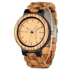Women Two-Tone Wooden Quartz Watch with Week and Date Display-Watch-Sour Grapes Online-Brown Face-