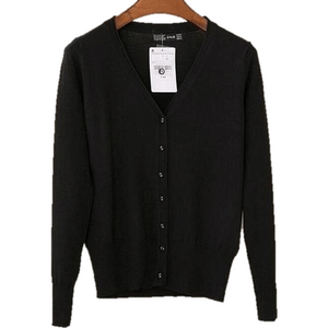 Women V Neck Knitted Long Sleeve Loose Buttons Cardigan-Cardigan-Sour Grapes Online-Black-S-